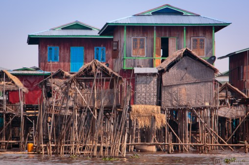 Houses on stilts in the lake