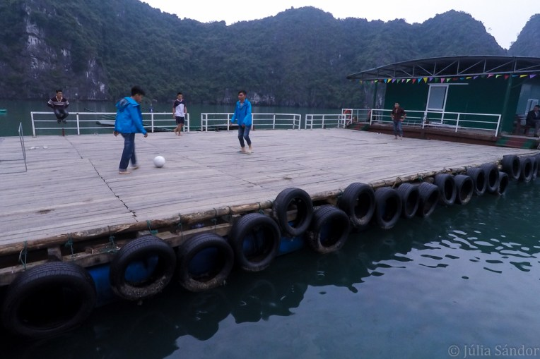 Football in the floating village (GoPro pic)