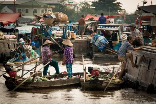 Floating market in the Mekong Delta