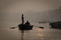 Boat on the foggy Ganges River