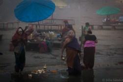 Hindu devotees bathing in the Ganges River