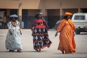 Herero women in Opuwo - in traditional dresses