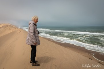 Eva on a dune at Sandwich Harbour - Walvis Bay