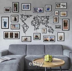 Geometric World Map Metal Decor Frames And Wires Wall Art