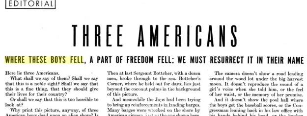Life Magazine editorial Three Americans