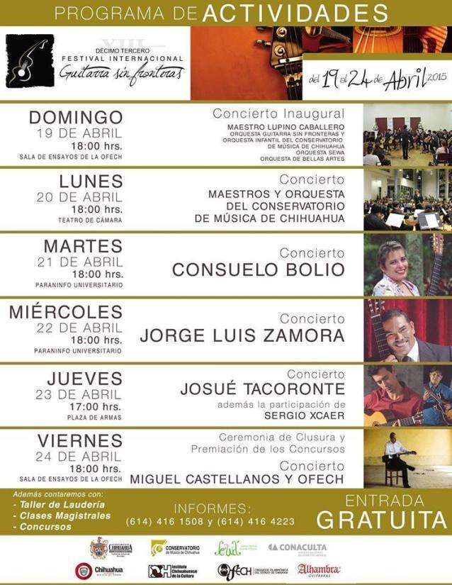 22 de abril - Jorge Luis Zamora en el XIII Festival Internacional de Guitarra sin Frontera en Chihuahua, México