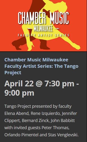 22 de abril - René Izquierdo y + en Peck School of the Arts de Milwaukee, Wisconsin