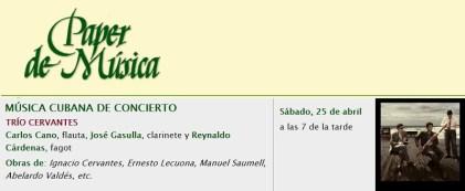 25 de abril - Trío Cervantes en Paper de Música de Capellades, Barcelona