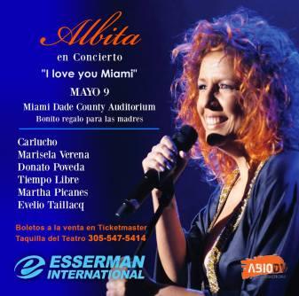 09 de mayo - Albita en el Miami Dade County Auditorium de Miami, Florida