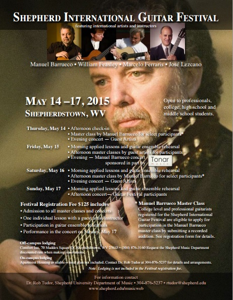 14-17 de mayo - Manuel Barrueco en el Shepherd International Guitar Festival de Shepherdstown, West Virginia