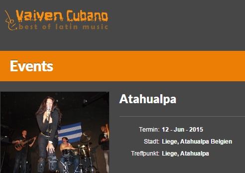 12 de junio - Bárbara y VaiVen Cubano en Atahualpa de Liege