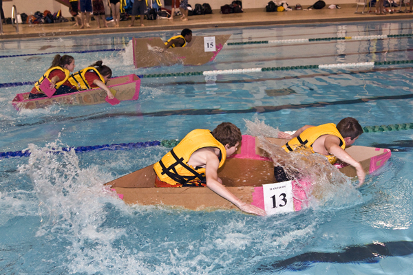 Who would have guessed...a race of cardboard in water during the annual regional Skills Canada-Ontario Cardboard Boat Race in Nepean, Ontario