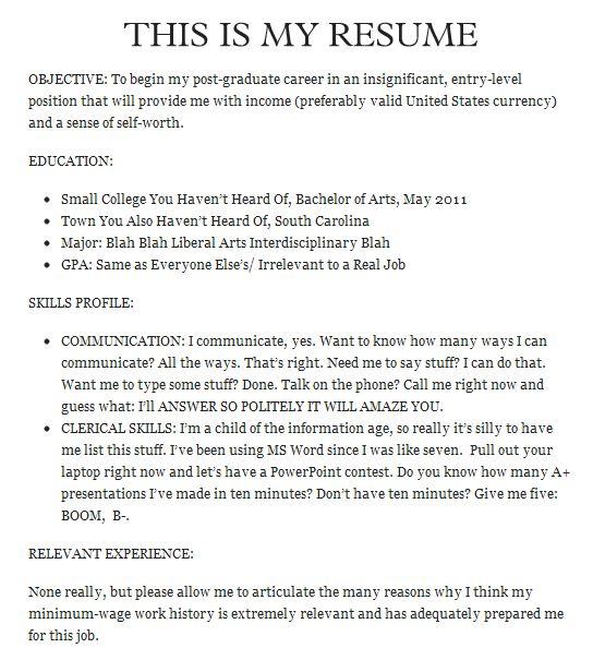 The 25 Funniest Job Resumes Of All Time WorldWideInterweb