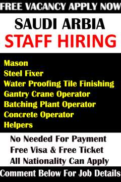 Urgent Staff Hiring in Saudi Arabia