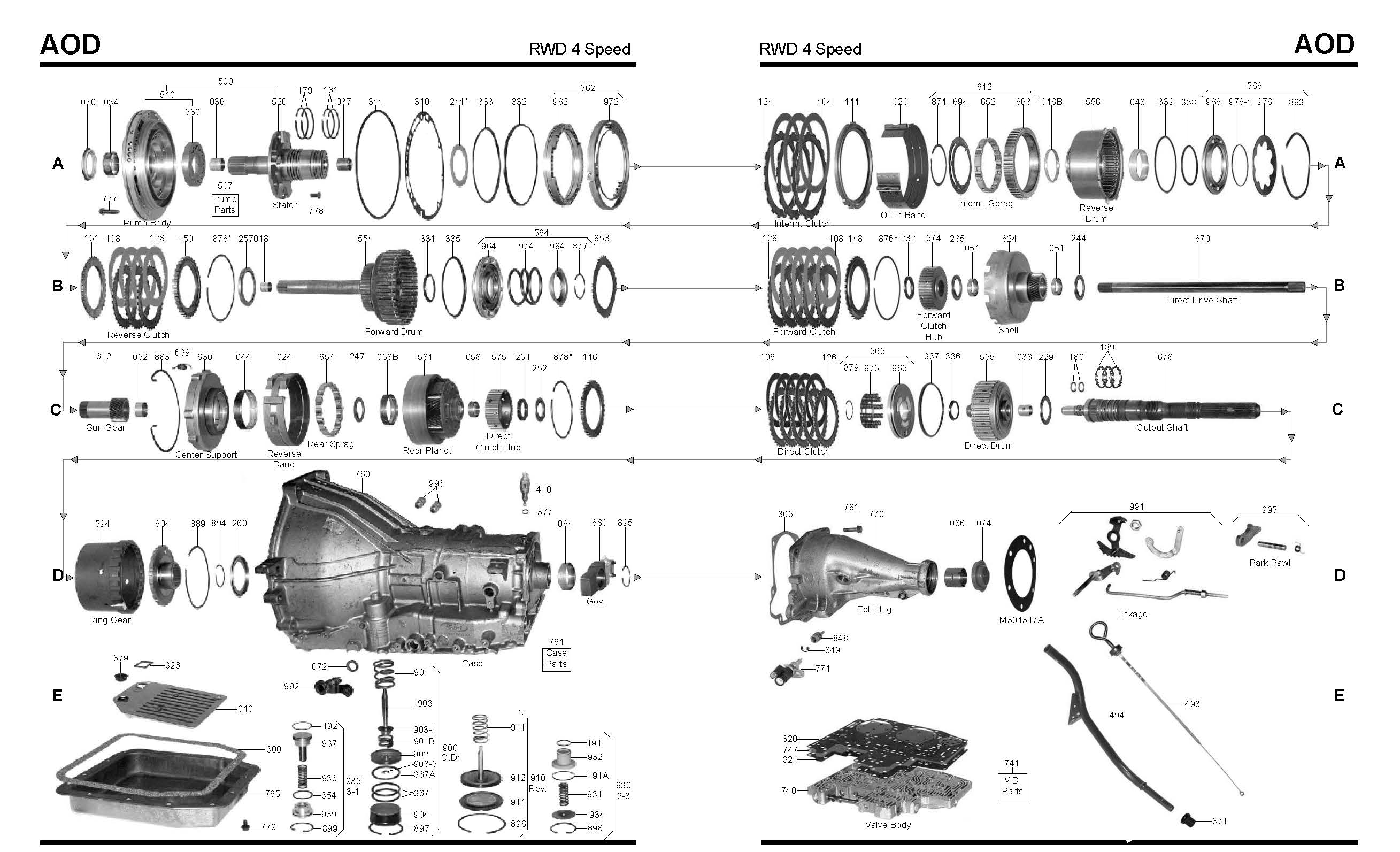 700r4 4x4 transmission diagram color wiring car stereo ford aod master rebuild kit from alto stage 3
