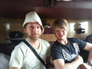 Matti looking angry and Nikolaj wearing the durag hat