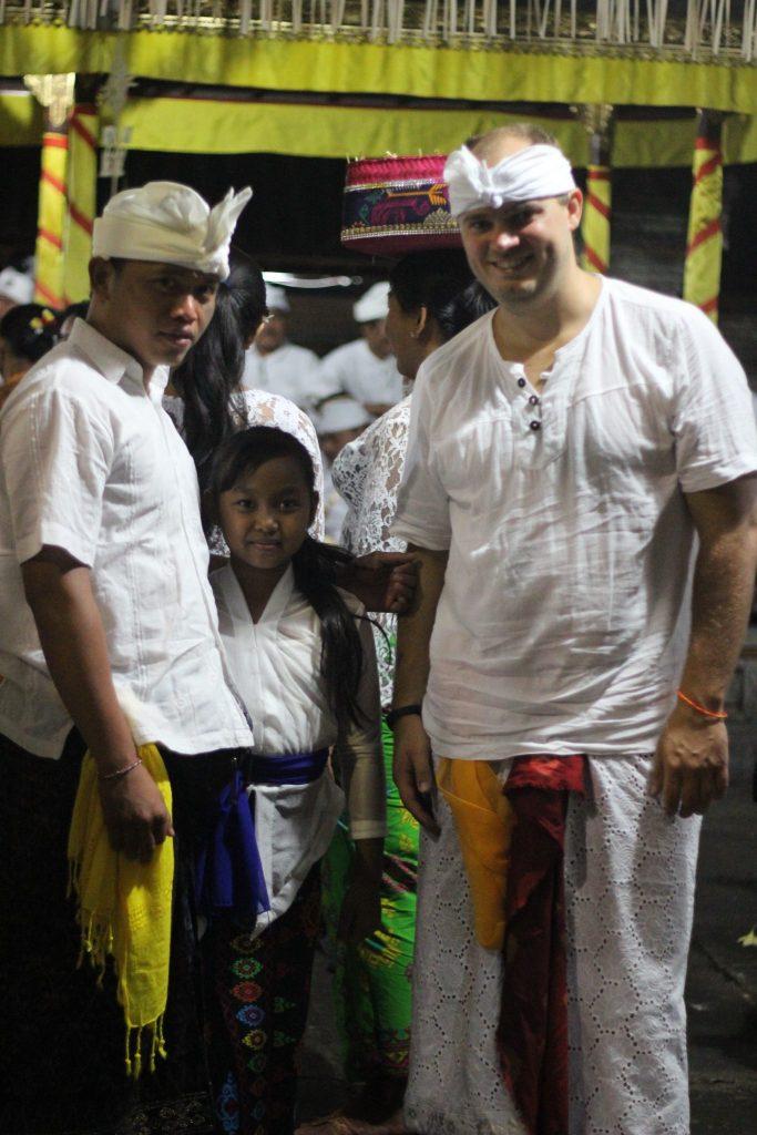 wearing traditional balinese attire full moon ceremony bali