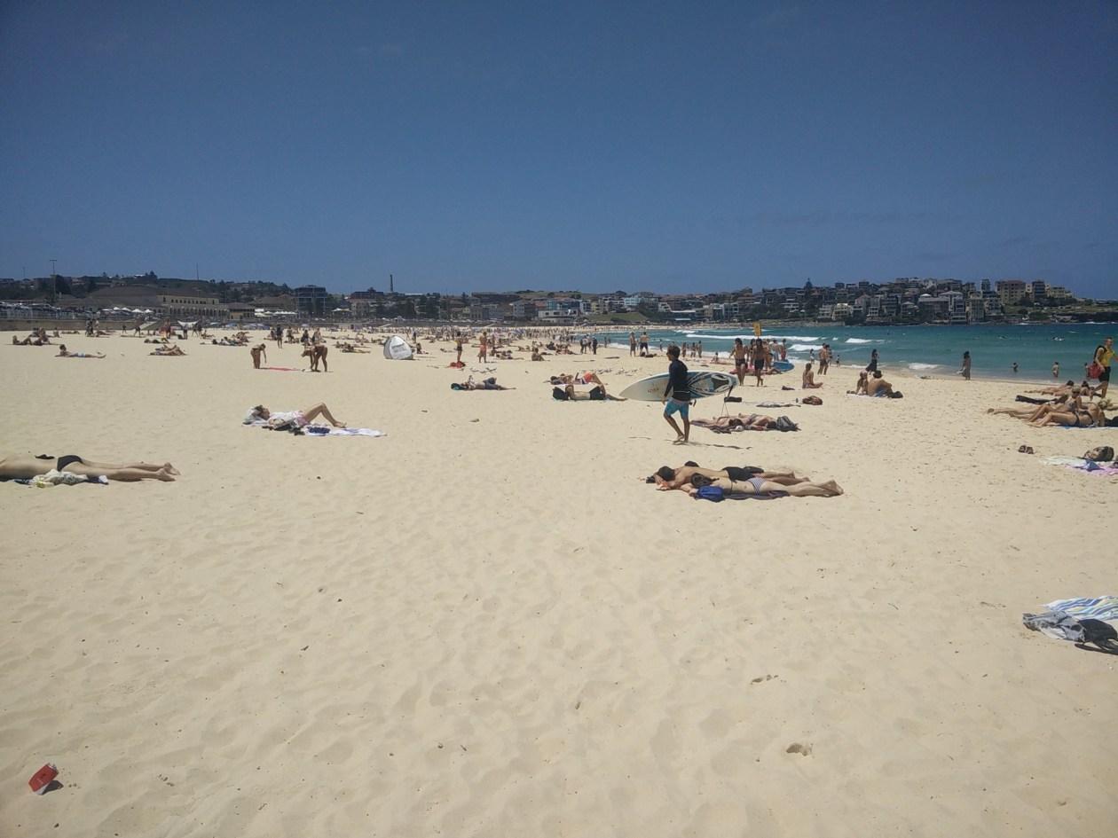 bondi beach in sydney with surfer