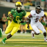 De'Anthony Thomas carried the ball three times for 64 yards and a touchdown during Oregon's 57-35 victory over Arkansas State at Autzen Stadium September 1, 2012. (Alex McDougall/The Emerald)