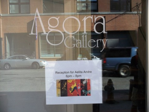 Agora Gallery Sign For Aelita Andre Opening
