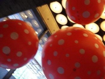 Kusama Red Polka Dot Beach Balls Installation at Whitney Museum Close Up