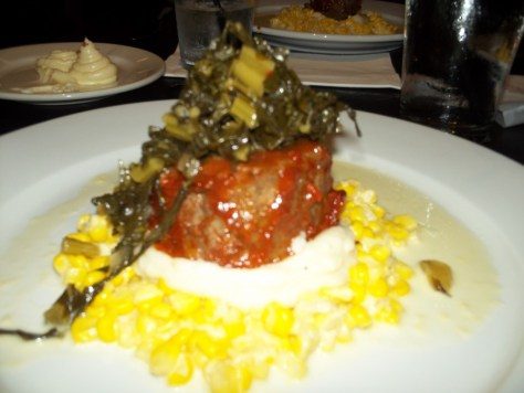 Meatloaf with Greens, Mashed Potatoes and Creamed Corn