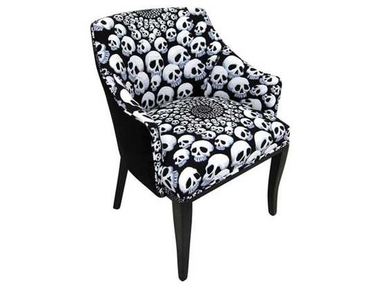 Upholstered Skull Arm Chair