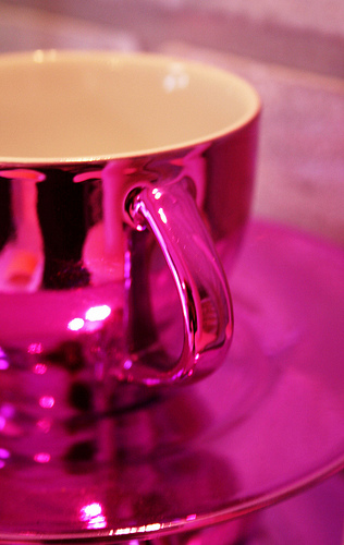 Hot Pink Cup and Saucer