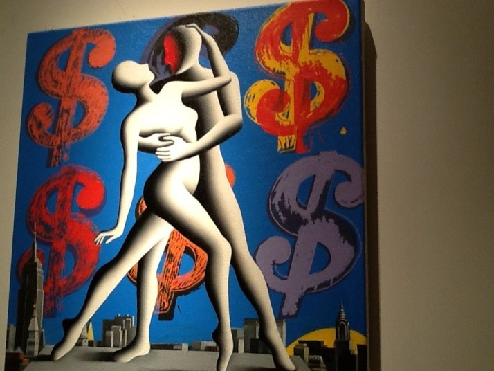 Mark Kostabi Dancing Couple with Dollar Signs