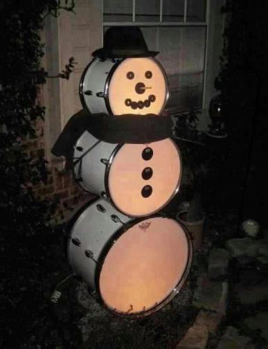 Bass Drum Snowman