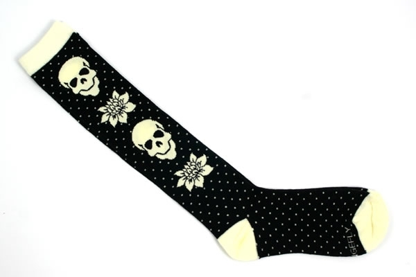 Skull and Flower Knee Socks_46407-l