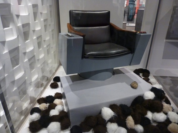 Captain Kirk Chair and Tribbles