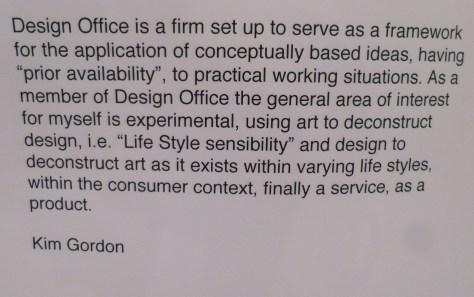Design Office Statement By Kim Gordon