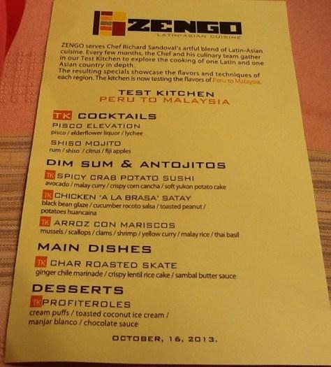 Zengo Test Kitchen Menu