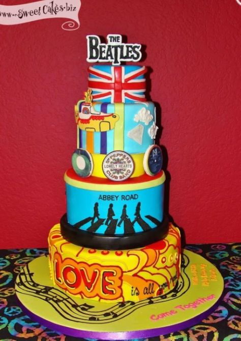 Beatles Themed Layer Cake