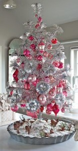 Aluminum Tree with Pink Onaments