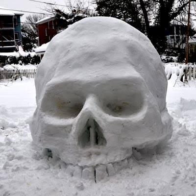 Skull Snow Sculpture