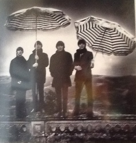 The Beatles with Stripped Umbrellas