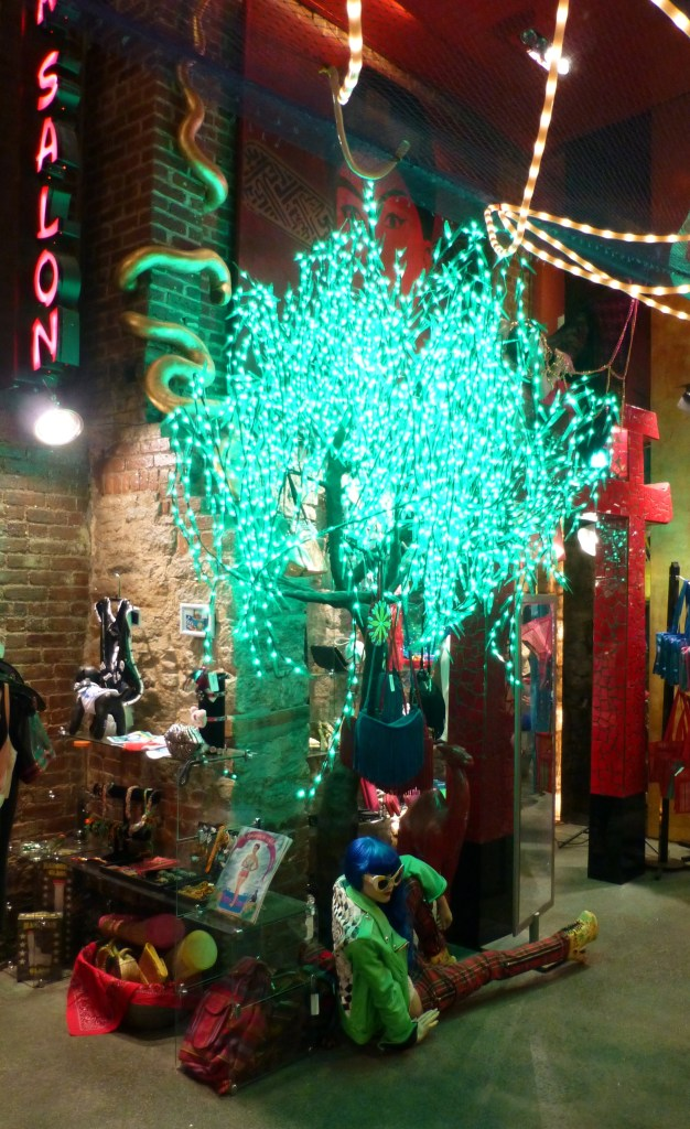 Green Lighted Tree Display