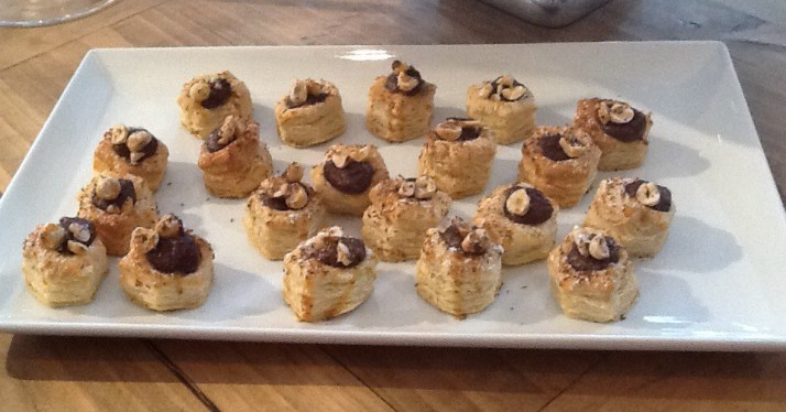 Puff Pastries with Nutella and Hazelnuts
