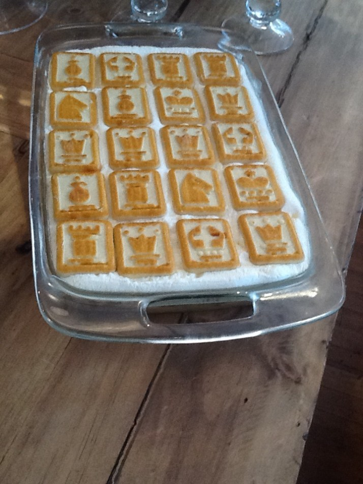 Bananas Foster Pudding with Chessmen
