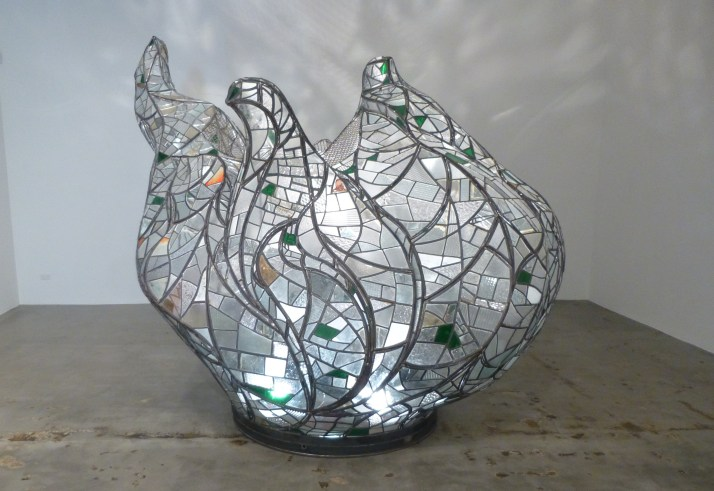 Stained Glass Flame Sculpture