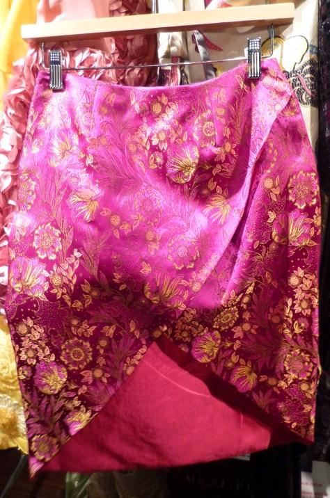 Magenta Silk Brocade Skirt By Durdoux