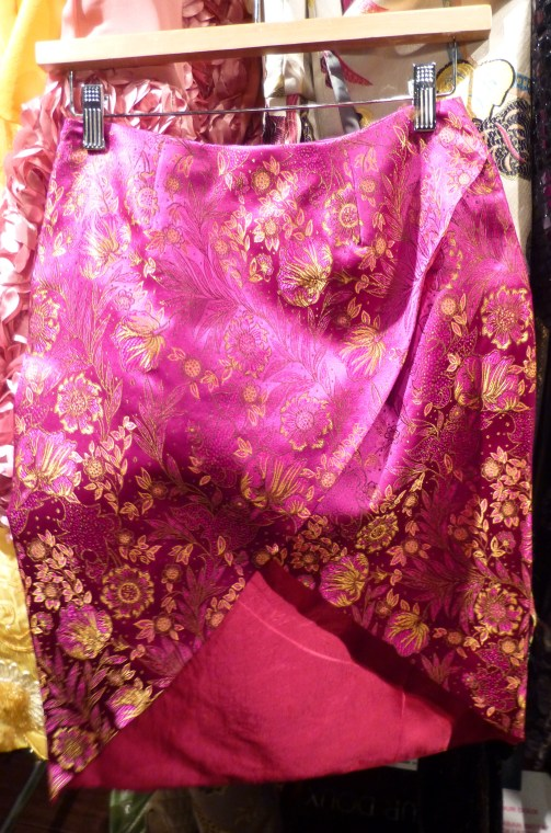 Magenta Silk Brocade Skirt By Durdoux