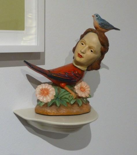 Bird with Human Head Sculpture