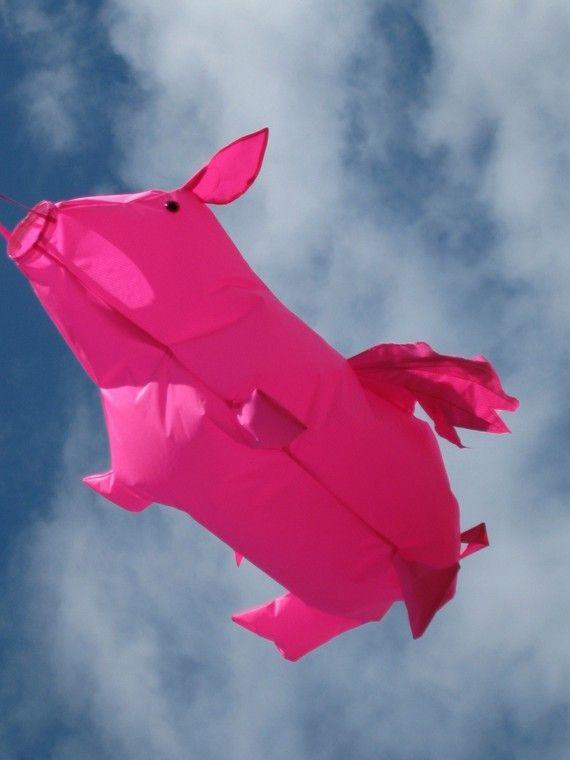 Pink Pig Flying Windsock