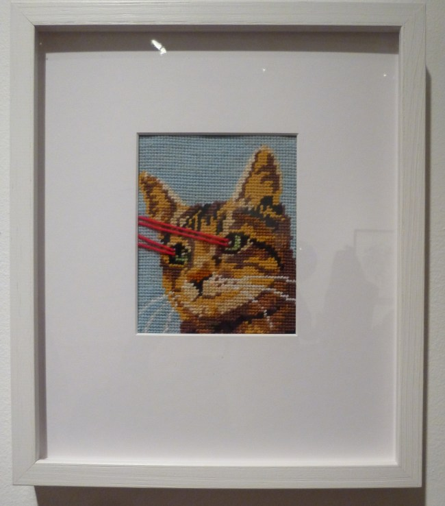 Cat with Laser Vision Needlepoint