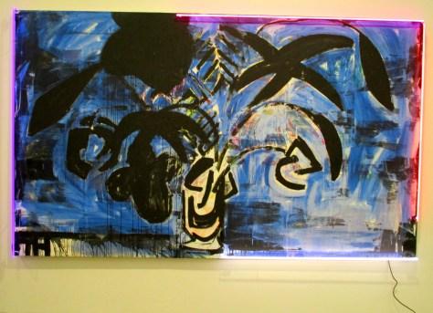 Black Flowers Blue Background