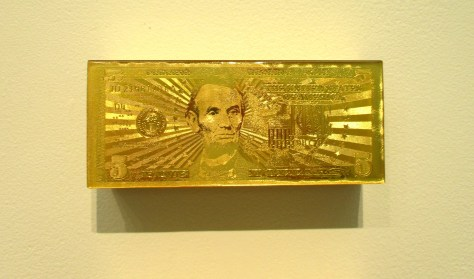 Gold 5 Dollar Bill