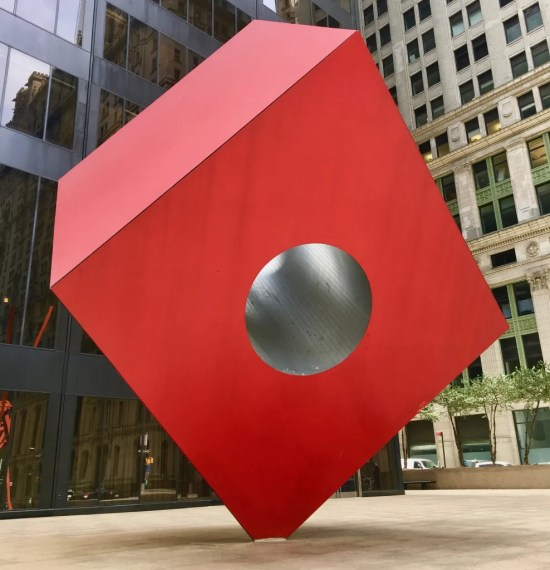 noguchi red cube photo by gail worley